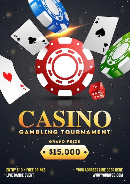 Disegno del modello del torneo di gioco d'azzardo del casinò Vettore Premium