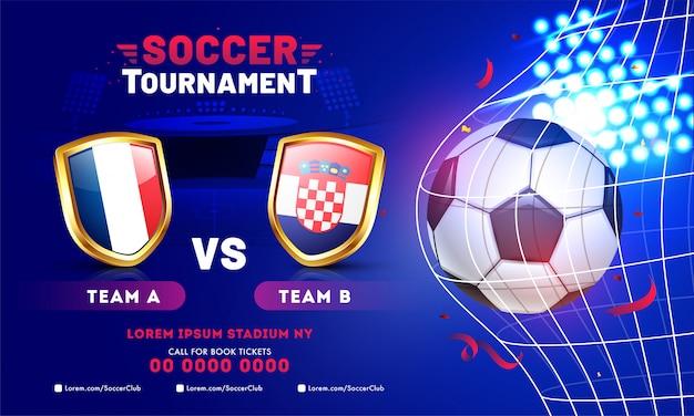Disegno del modello di banner torneo di calcio con pallone da calcio e squadre Vettore Premium