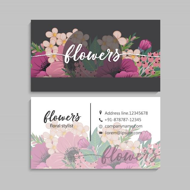 Disegno del modello di biglietto da visita floreale Vettore Premium