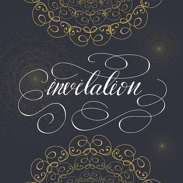 Disegno del modello di carta con lettering invito. illustrazione vettoriale Vettore Premium