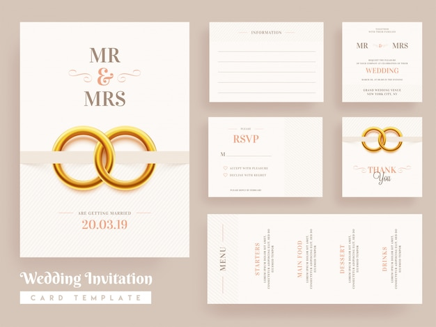 Disegno del modello di carta di invito a nozze Vettore Premium