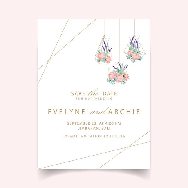 Disegno del modello di carta di invito matrimonio floreale con ranuncolo rosa e fiori di lavanda. Vettore Premium