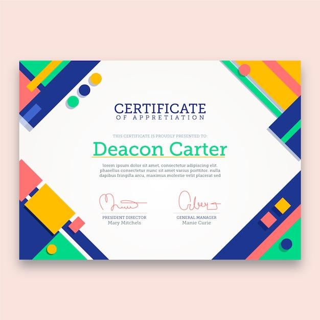Disegno del modello di certificato astratto Vettore gratuito