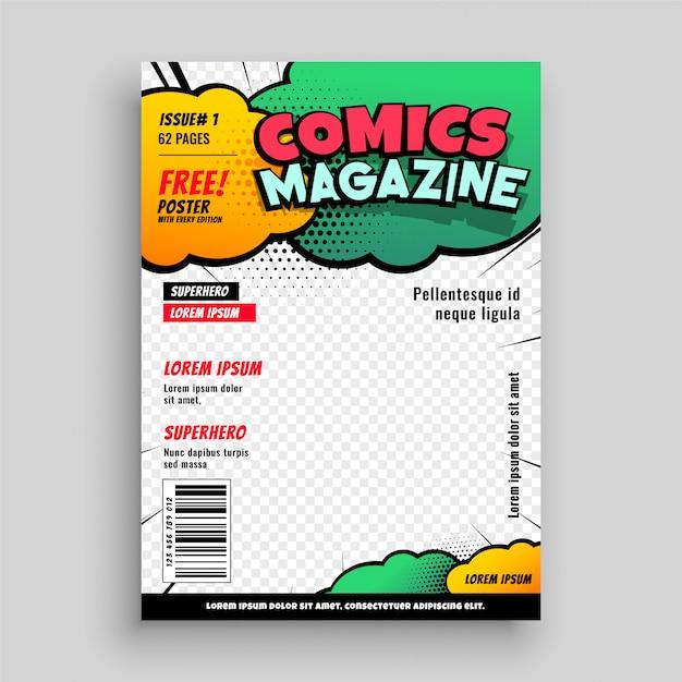 Disegno del modello di copertina di fumetti Vettore gratuito