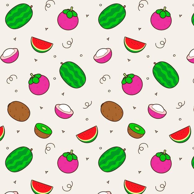 Disegno del modello di frutta con anguria Vettore gratuito