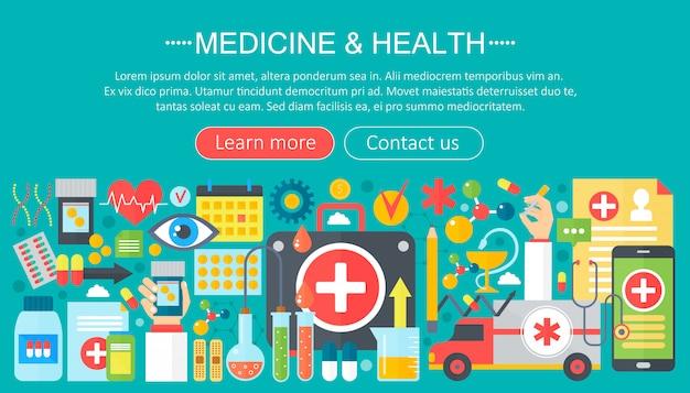 Disegno del modello di infographics di medicina e salute Vettore Premium