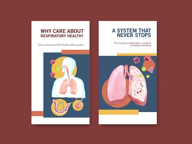 Disegno del modello di instagram respiratorio con anatomia umana del polmone e cure sane Vettore gratuito