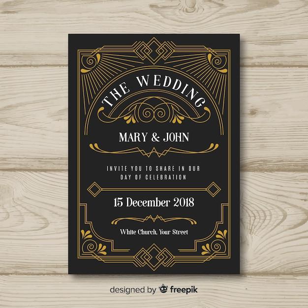Disegno del modello di invito di matrimonio art deco Vettore gratuito
