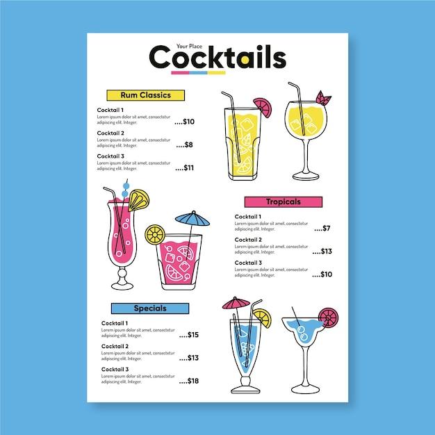 Disegno del modello di menu cocktail Vettore gratuito