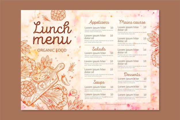 Disegno del modello di menu del ristorante dell'acquerello Vettore gratuito