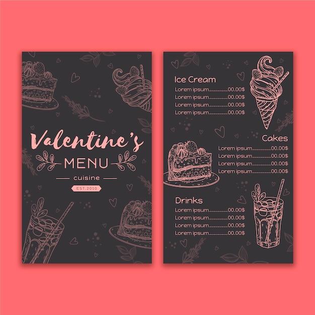 Disegno del modello di menu di san valentino Vettore gratuito