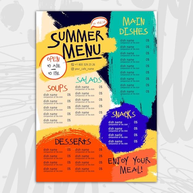 Disegno del modello di menu ristorante colorato Vettore gratuito