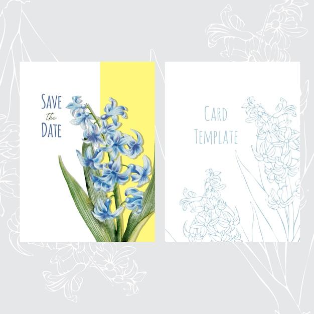 Disegno del modello di scheda di invito matrimonio botanico con fiori di giacinto Vettore Premium