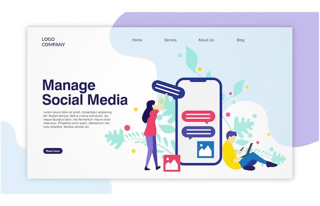 Disegno del modello di social media della pagina di atterraggio Vettore Premium