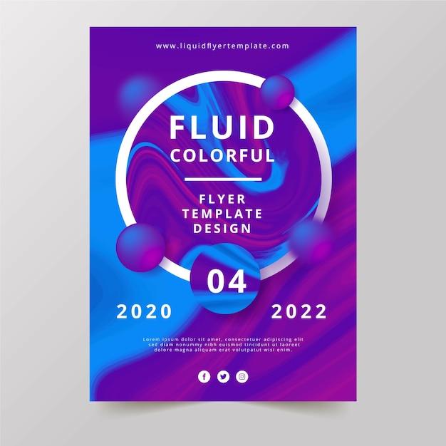 Disegno del modello di volantino colorato effetto fluido Vettore gratuito