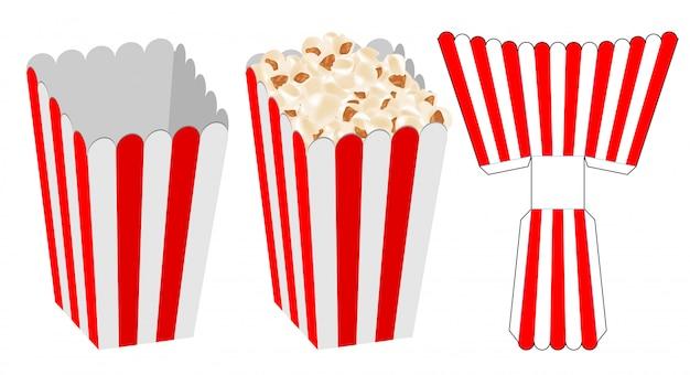 Disegno del modello fustellato dell'imballaggio di scatola di popcorn Vettore Premium