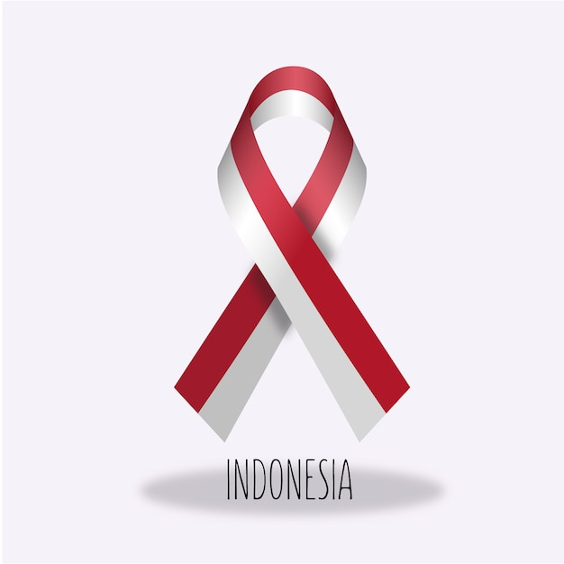 Disegno del nastro della bandierina dell'indonesia Vettore gratuito