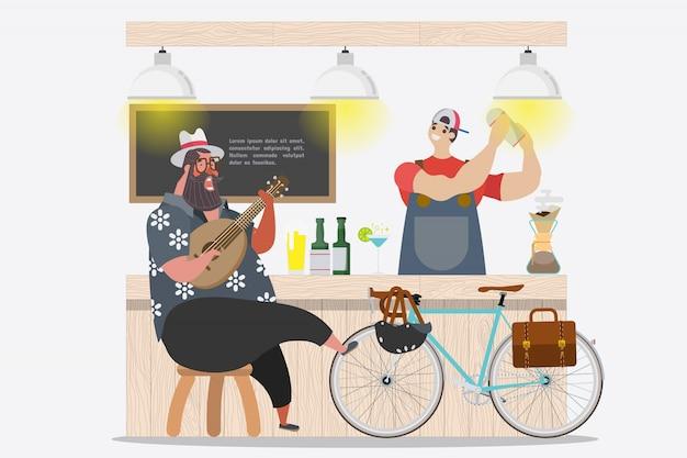 Disegno del personaggio dei cartoni animati. il tizio grasso ama il buon umore e gioca ukulele al fronte bar nella stagione estiva Vettore gratuito