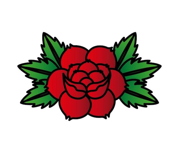 Disegno del tatuaggio delle rose Vettore Premium