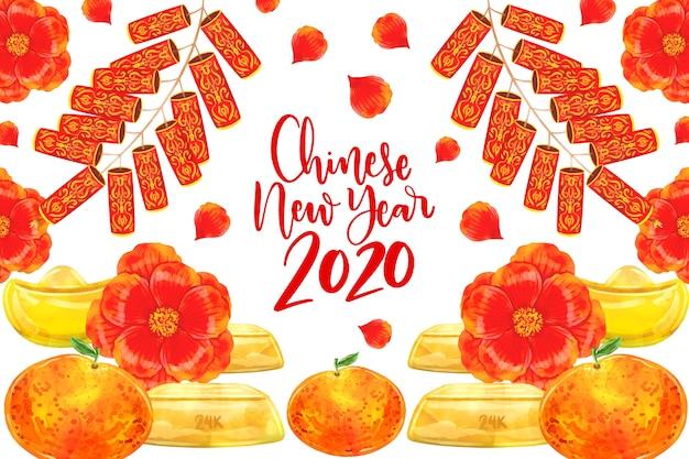 Disegno dell'acquerello capodanno cinese con fiori Vettore gratuito