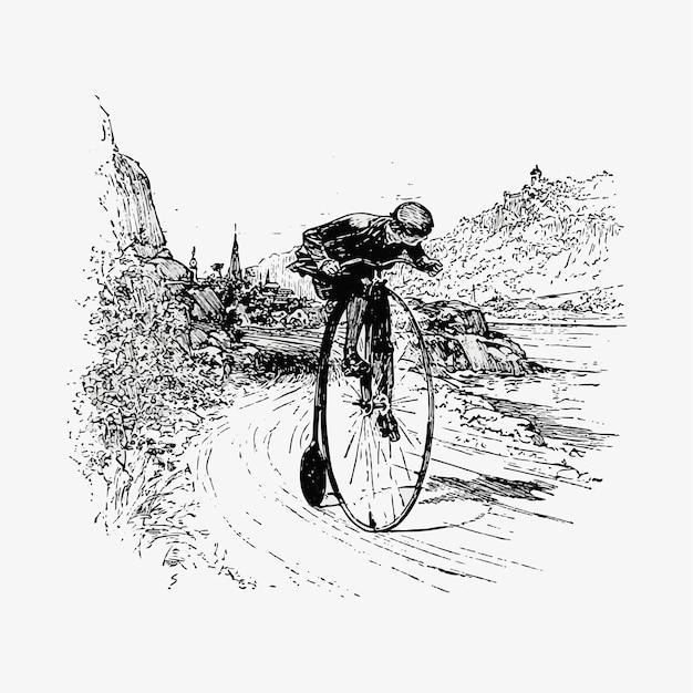 Disegno dell'annata del ciclista della grande ruota Vettore gratuito