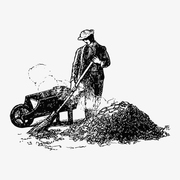 Disegno dell'annata di pulizia foglia Vettore gratuito