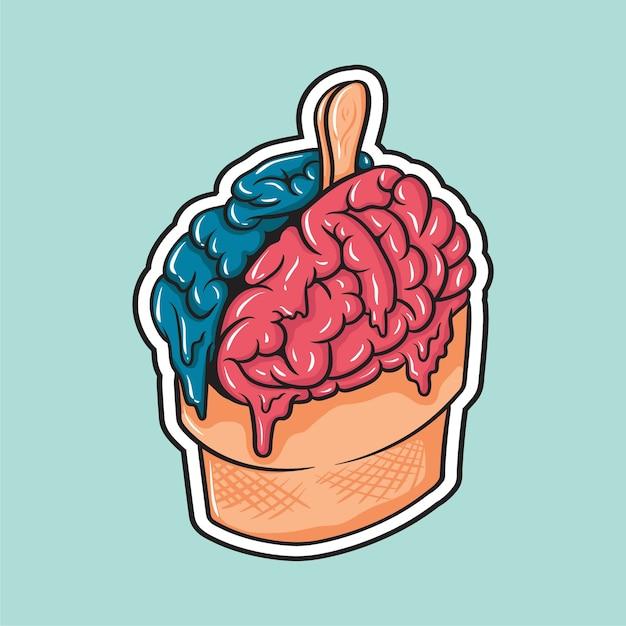 Disegno dell'autoadesivo dell'illustrazione del cervello del gelato Vettore Premium