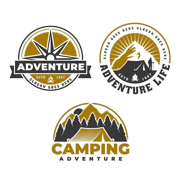Disegno dell'emblema del campeggio e dell'escursione, logo di vita avventurosa, tenda e bussola Vettore Premium
