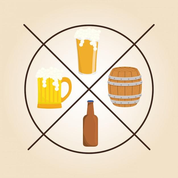 Disegno dell'icona di birra Vettore Premium