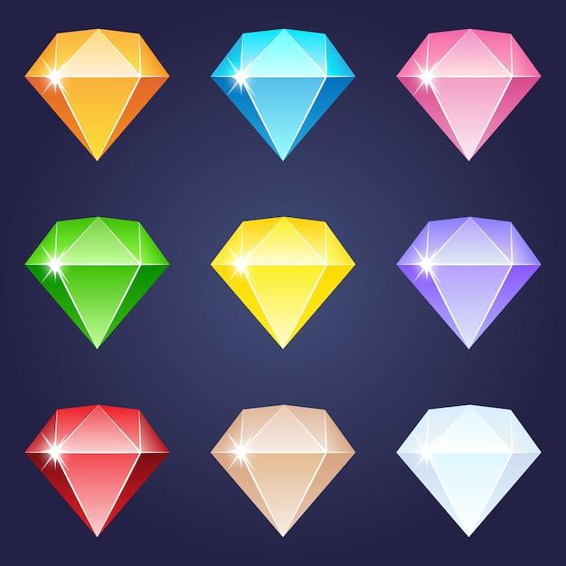 Disegno dell'icona di diamante diversi colori gemma. Vettore Premium