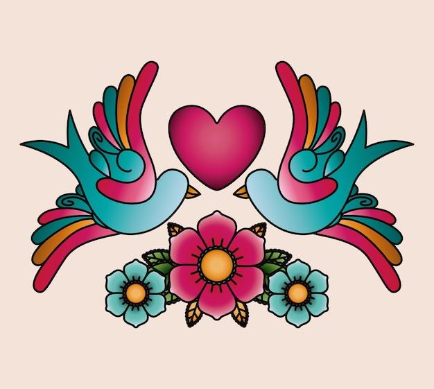 Disegno dell'icona isolato tatuaggio cuore e uccelli Vettore Premium