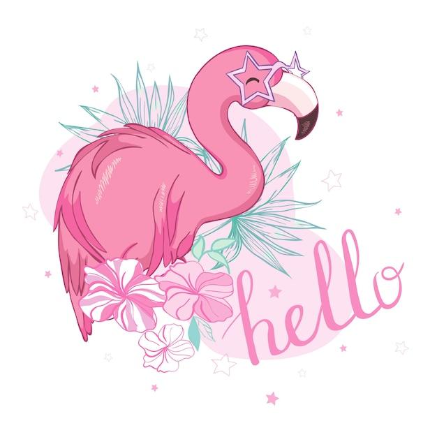 Disegno dell'illustrazione dell'uccello del fenicottero Vettore Premium