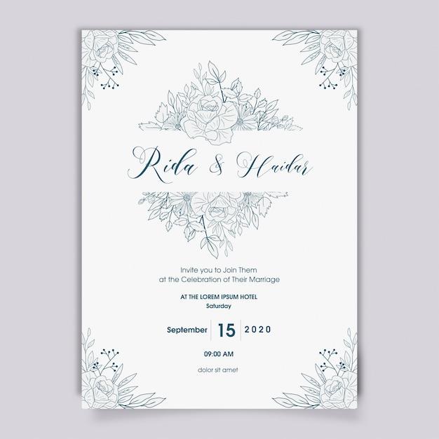Disegno dell'invito di nozze floreale disegnato a mano Vettore Premium