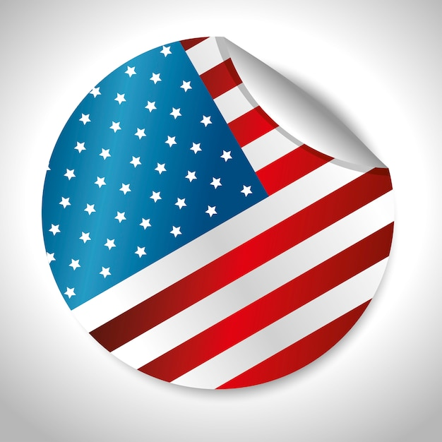 Disegno della bandiera autoadesivo arrotondato stati uniti d'america Vettore gratuito