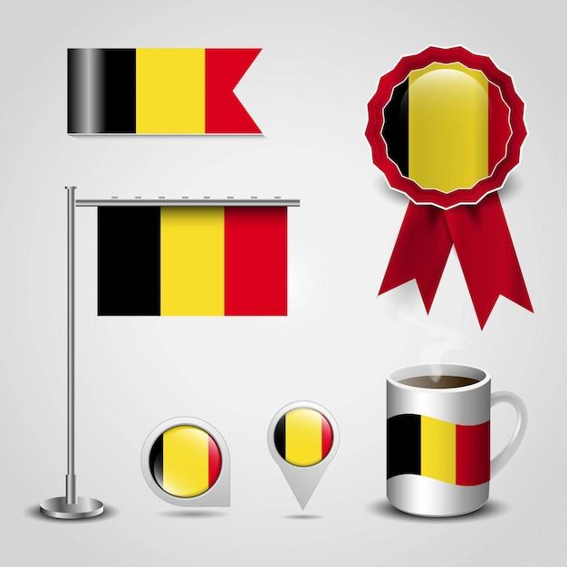 Disegno della bandiera del belgio Vettore Premium