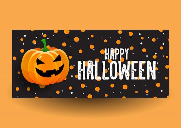 Disegno della bandiera di halloween con la zucca Vettore gratuito