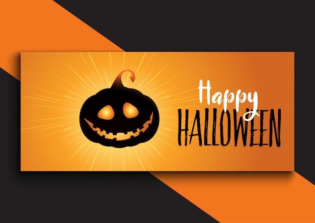 Disegno della bandiera di halloween con zucca carina Vettore gratuito