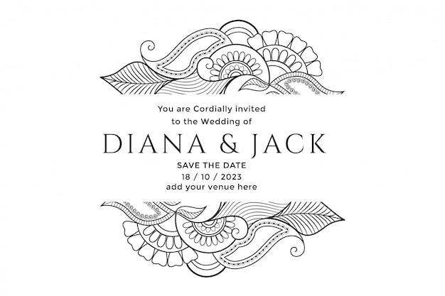 Disegno della carta di nozze decorazione floreale mehndi Vettore gratuito