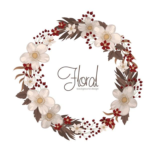 Disegno della corona di fiori - cornice cerchio rosso con fiori Vettore gratuito