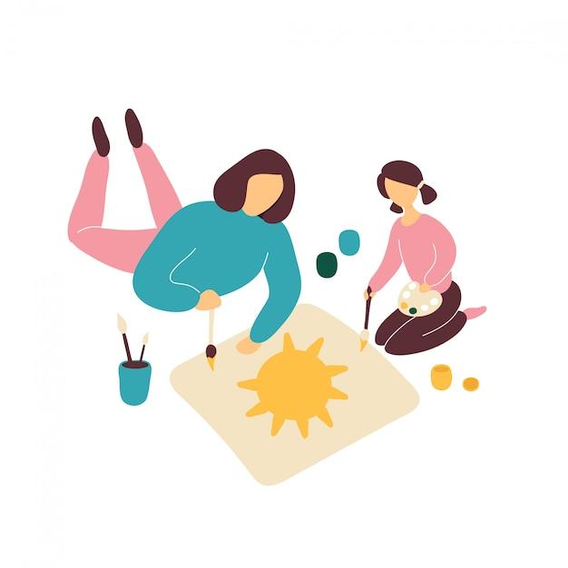 Disegno della madre con la piccola figlia sul pavimento Vettore Premium
