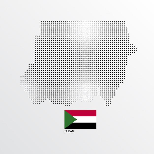 Disegno della mappa del sudan con bandiera e luce sfondo vettoriale Vettore gratuito