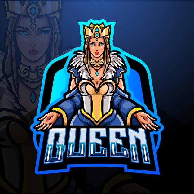 Disegno della mascotte logo regina esport Vettore Premium