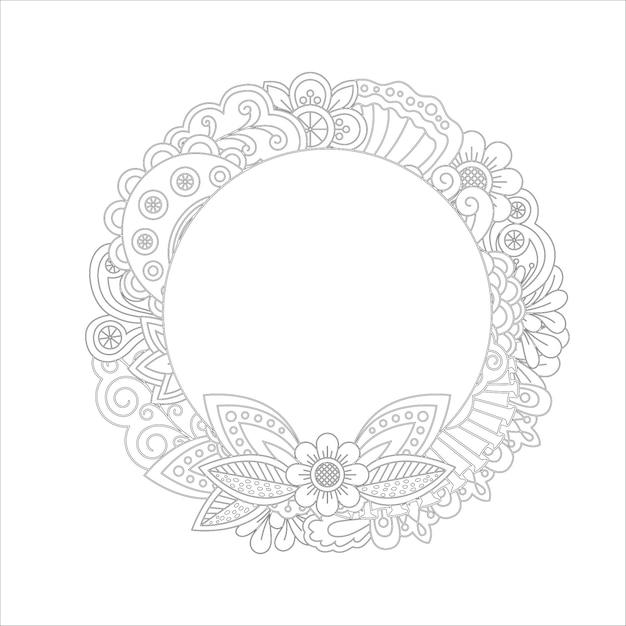 Disegno della pagina da colorare ghirlanda floreale Vettore Premium