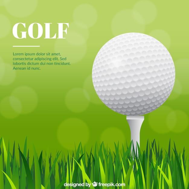 Disegno della palla da golf con erba Vettore gratuito