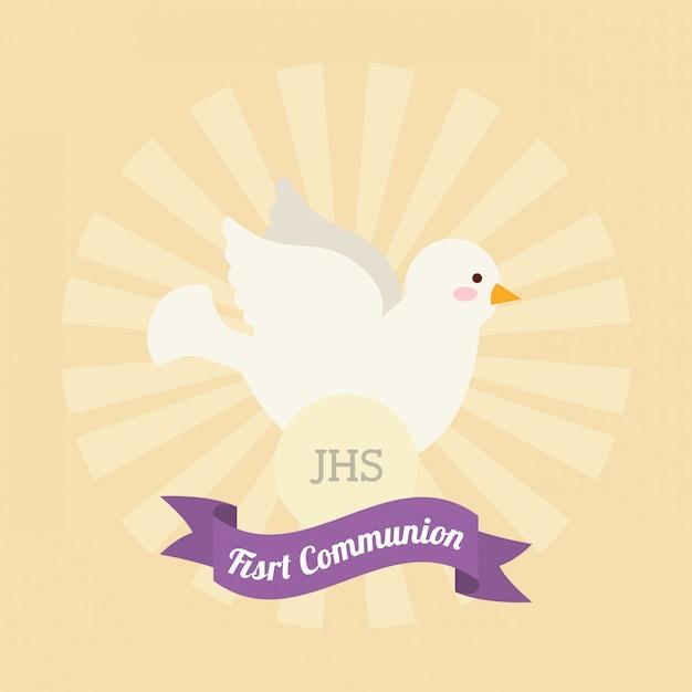 Disegno della prima carta di comunione Vettore gratuito