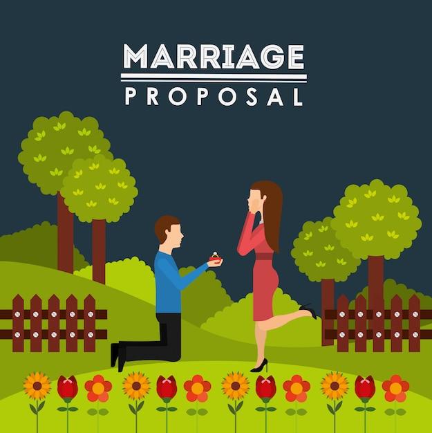 Disegno della proposta di matrimonio Vettore gratuito