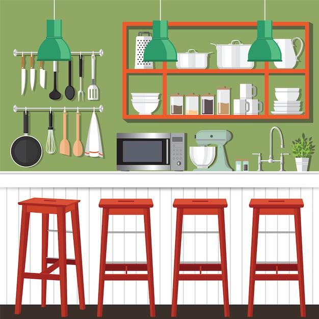 Disegno della stanza della cucina | Scaricare vettori Premium