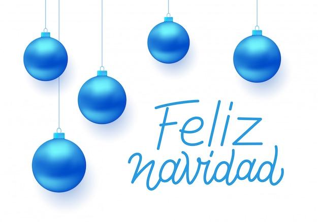 Disegno di auguri vettoriale feliz navidad Vettore Premium