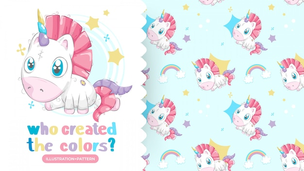 Disegno di bellissimo unicorno con pattern di sfondo Vettore Premium