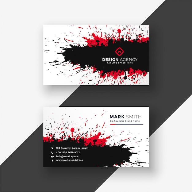 Disegno di biglietto da visita nero rosso spruzzata astratta dell'inchiostro Vettore gratuito